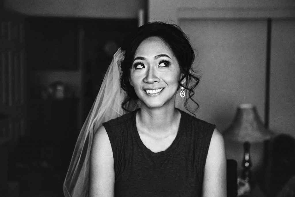 Bride getting ready for her wedding in her home in Los Angeles, Wedding Portfolio