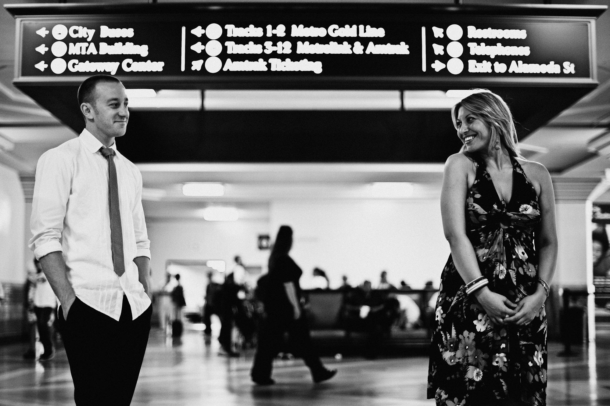 union station engagement photos los angeles width=