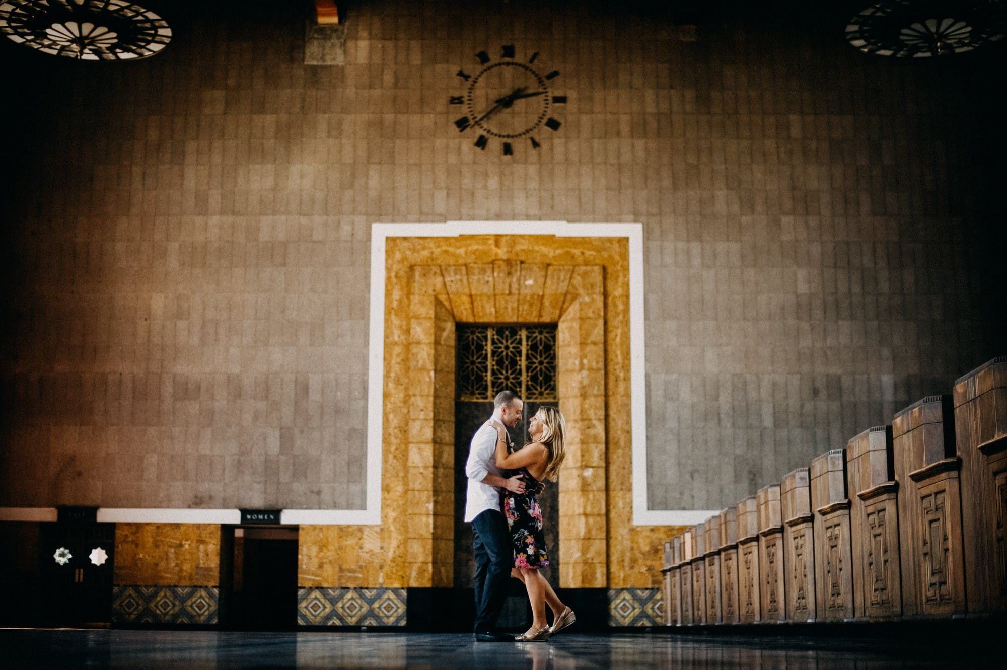 union station engagement photos los angeles width=