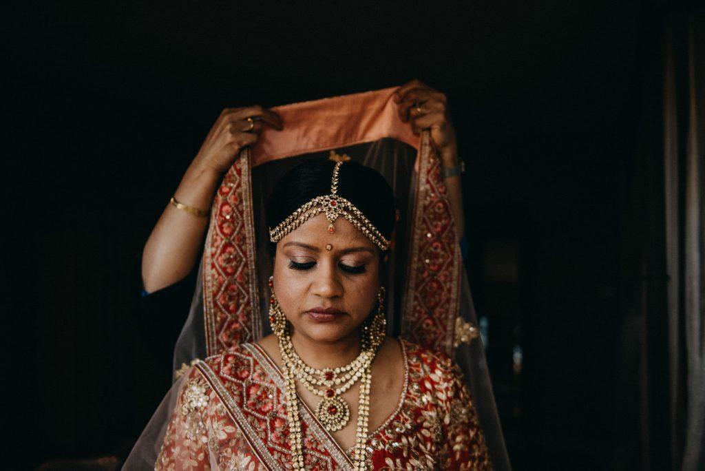 An Indian bride gets ready for her wedding in Simi Valley California, Indian Elopement