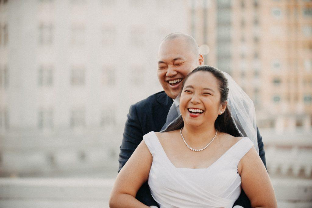 Oakland Rotunda roof Wedding Portrait